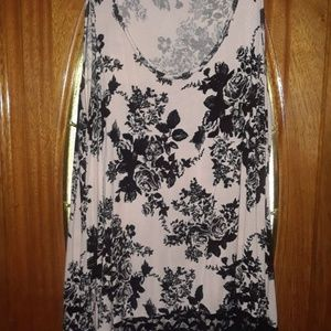 Black and White Flowery Top